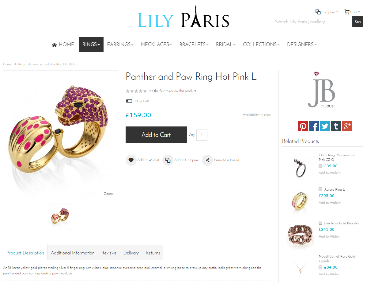 Lily Paris Product Page Screenshot