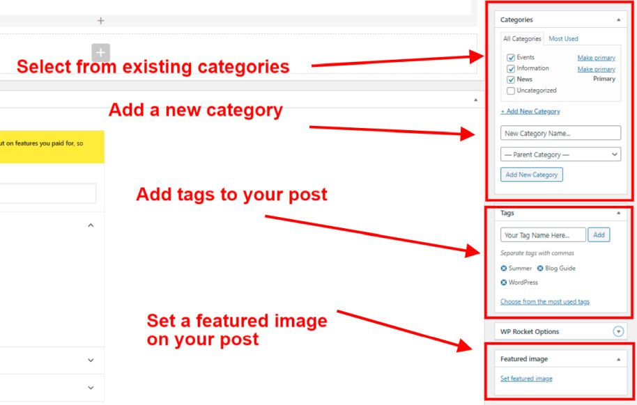 Adding categories, tags and a featured image to a post