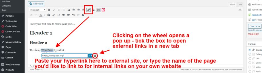 Creating a post and adding a hyperlink