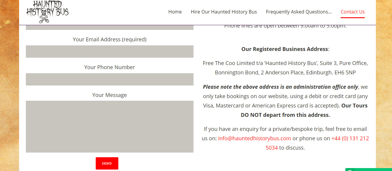 Contact Us Haunted History Bus