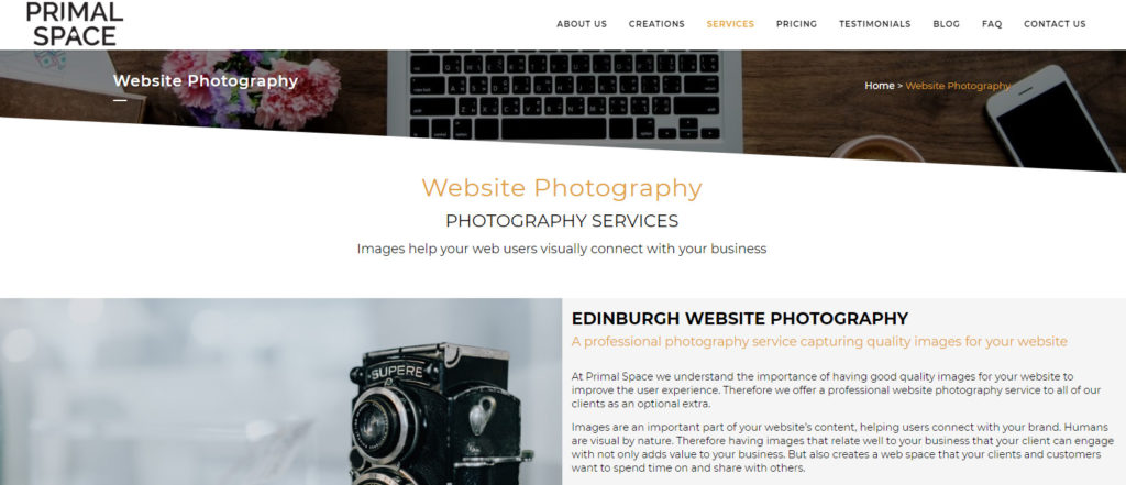 Website Photography Edinburgh Scotland Primal Space