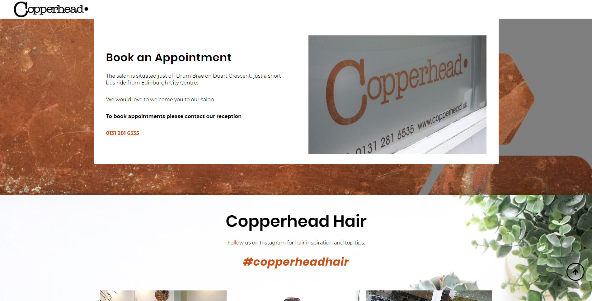 copperhead hairdressers website design