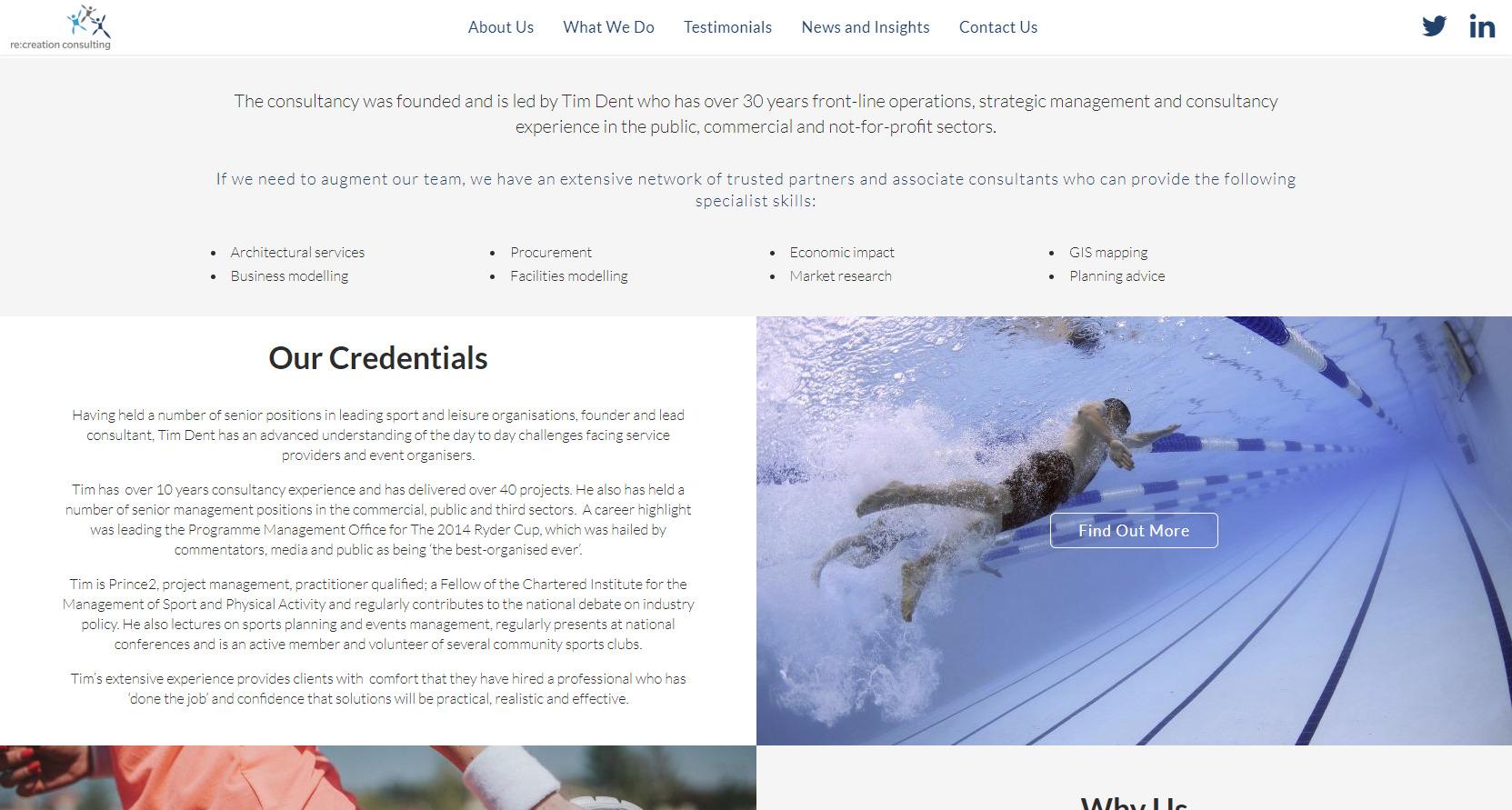 Recreation Consulting Website Design