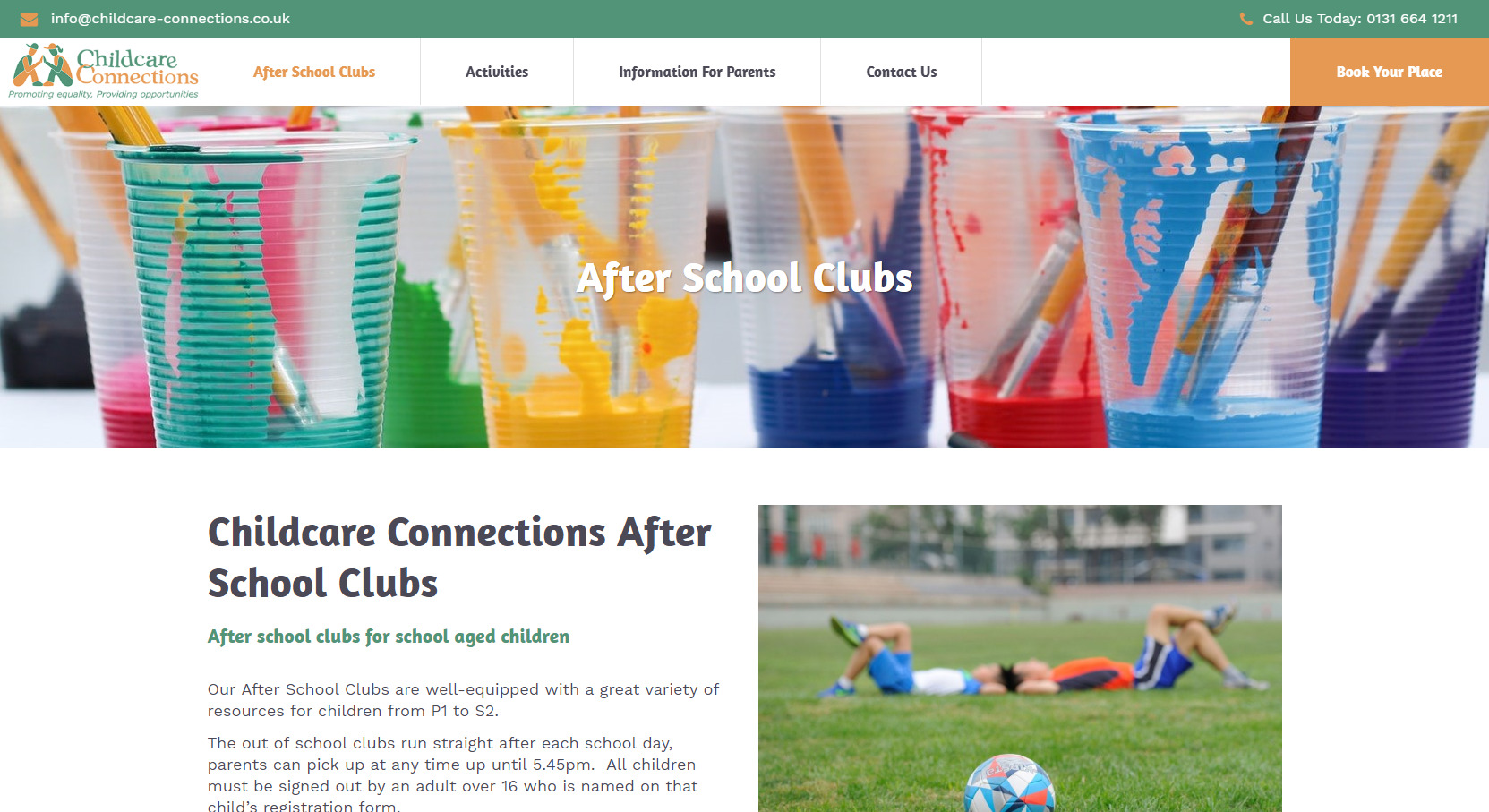 Childcare Connections website design