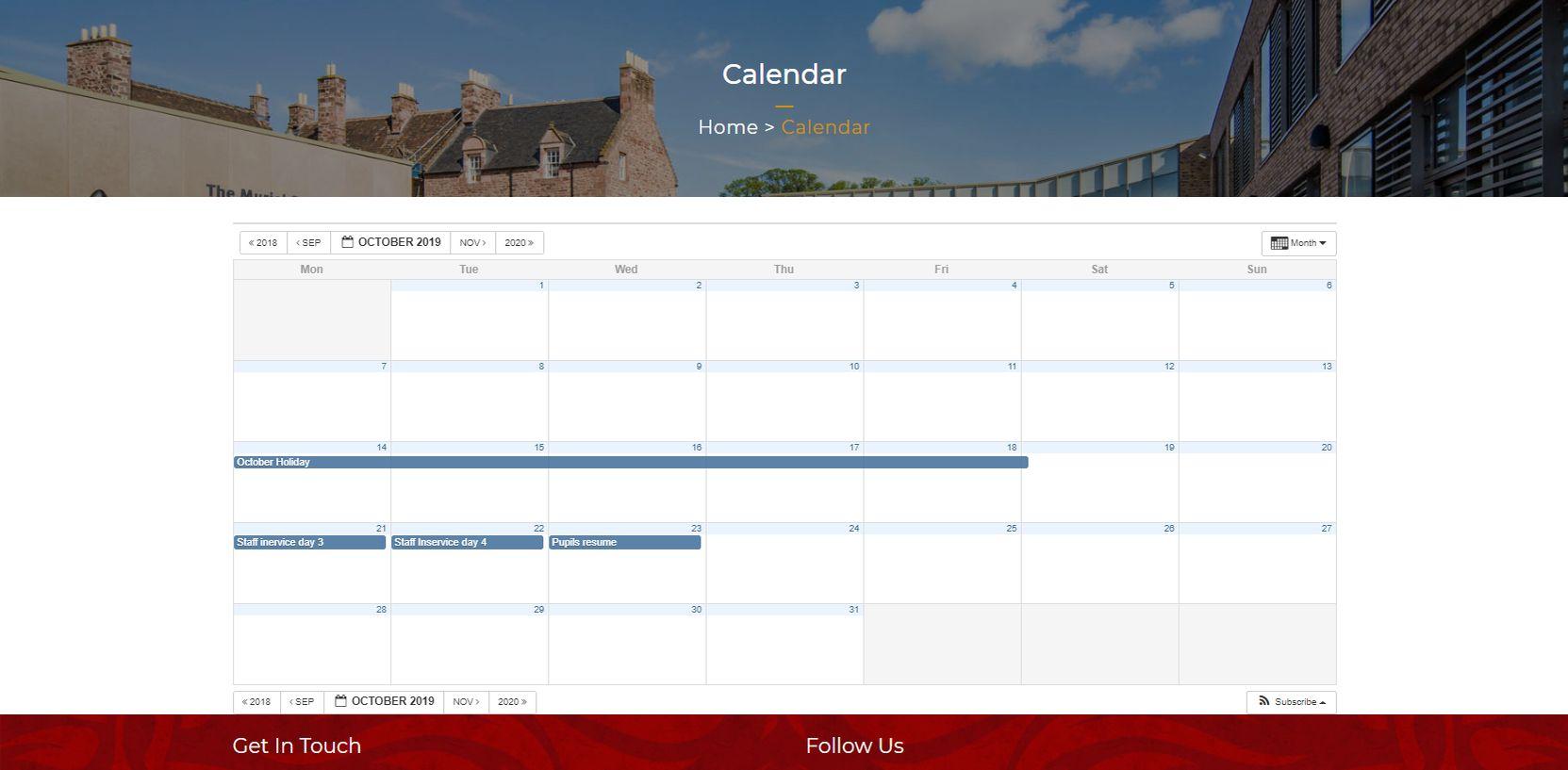James Gillespie's High School Calendar