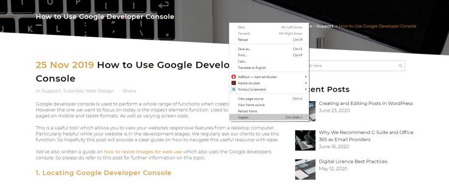 Locating Google Developer Console