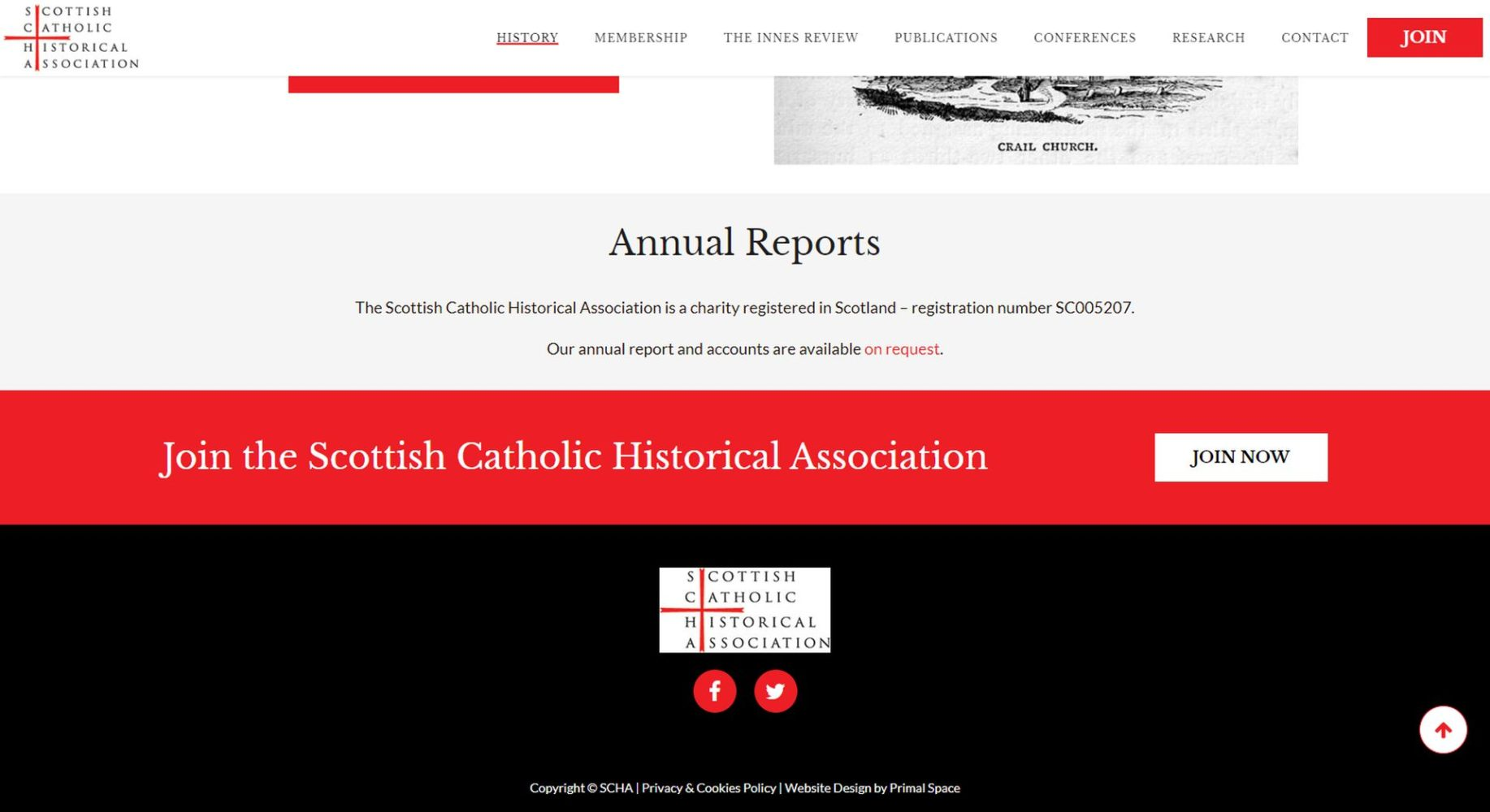 Scottish Catholic Historical Association Website Design Footer