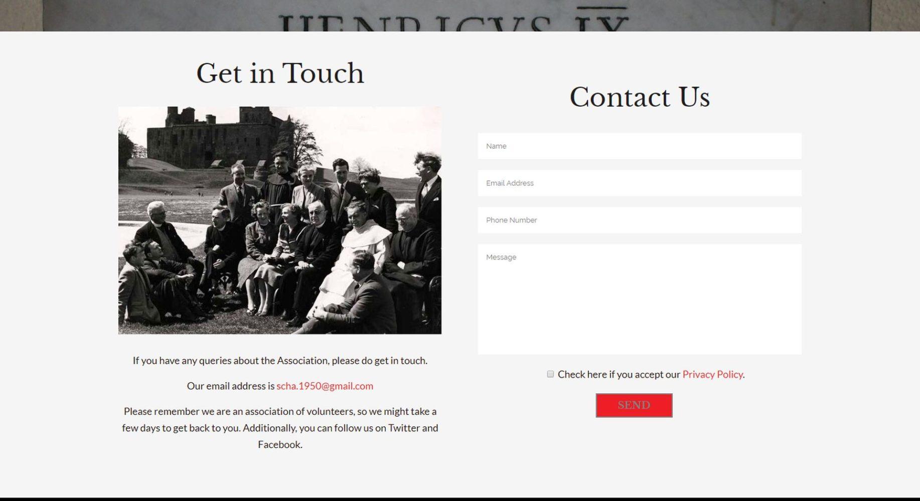 Scottish Catholic Historical Association Website Design Contact Form