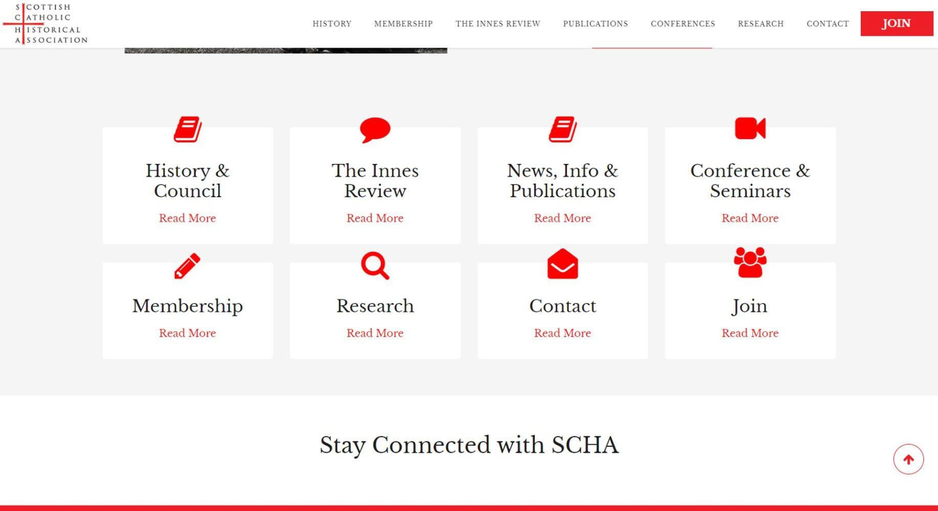 Scottish Catholic Historical Association Website Design Menu