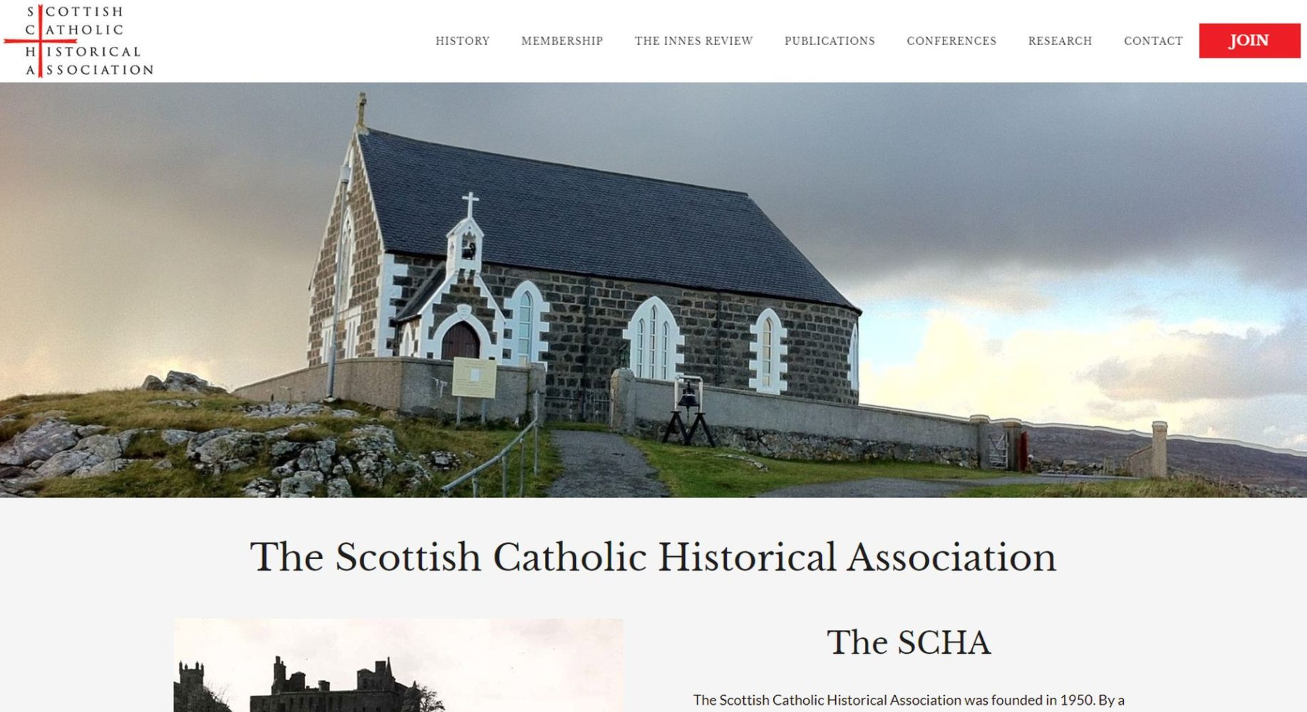 Scottish Catholic Historical Association Website Design Homepage