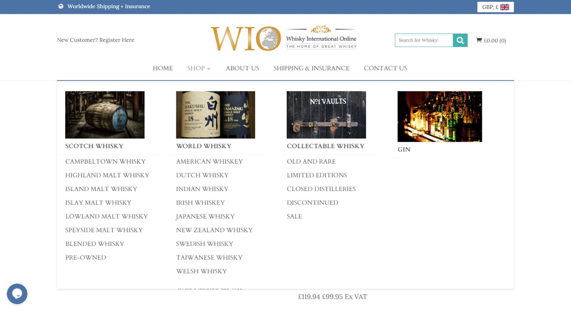 Whisky International Online Categories