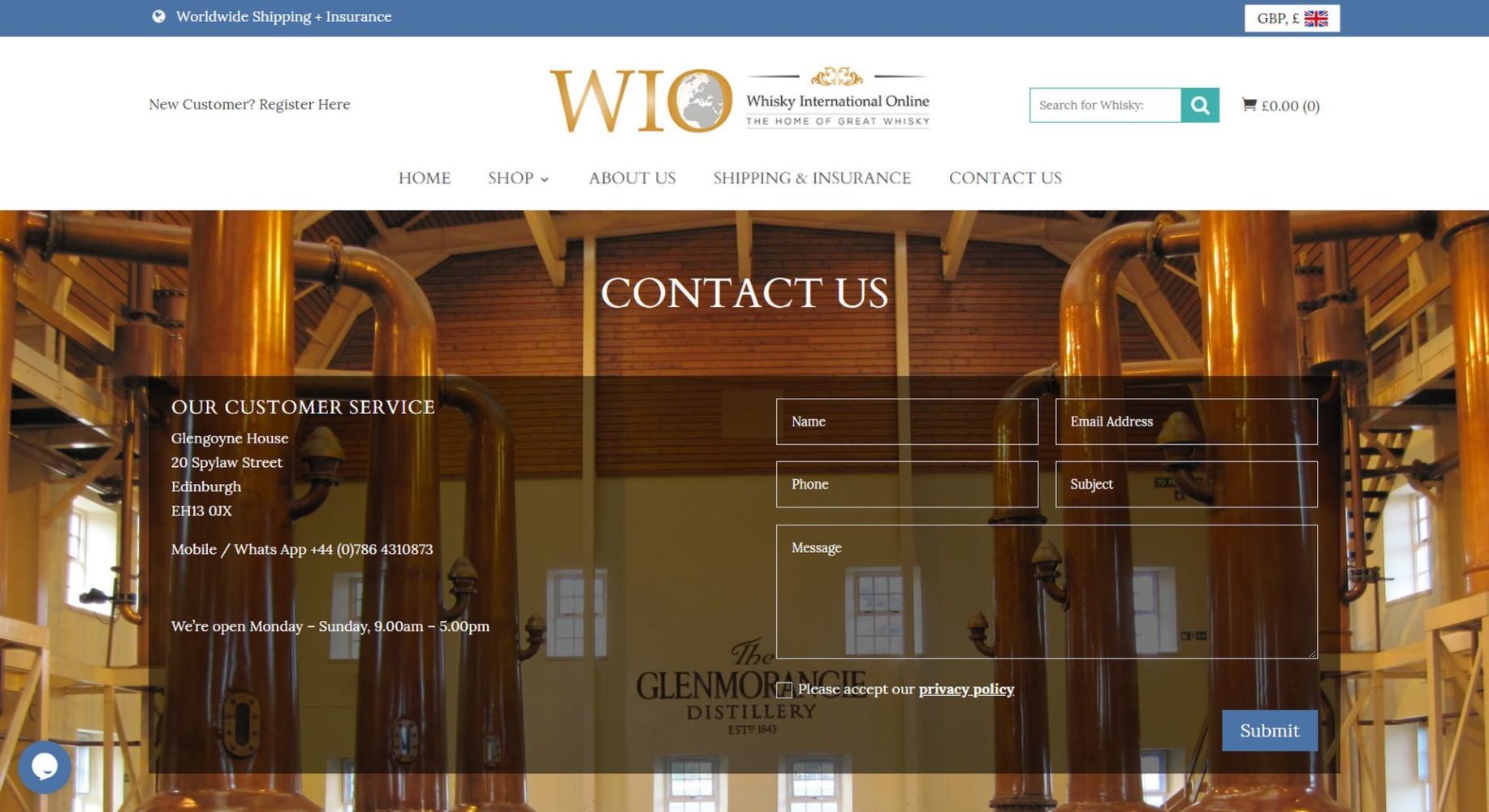 Whisky International Online Contact