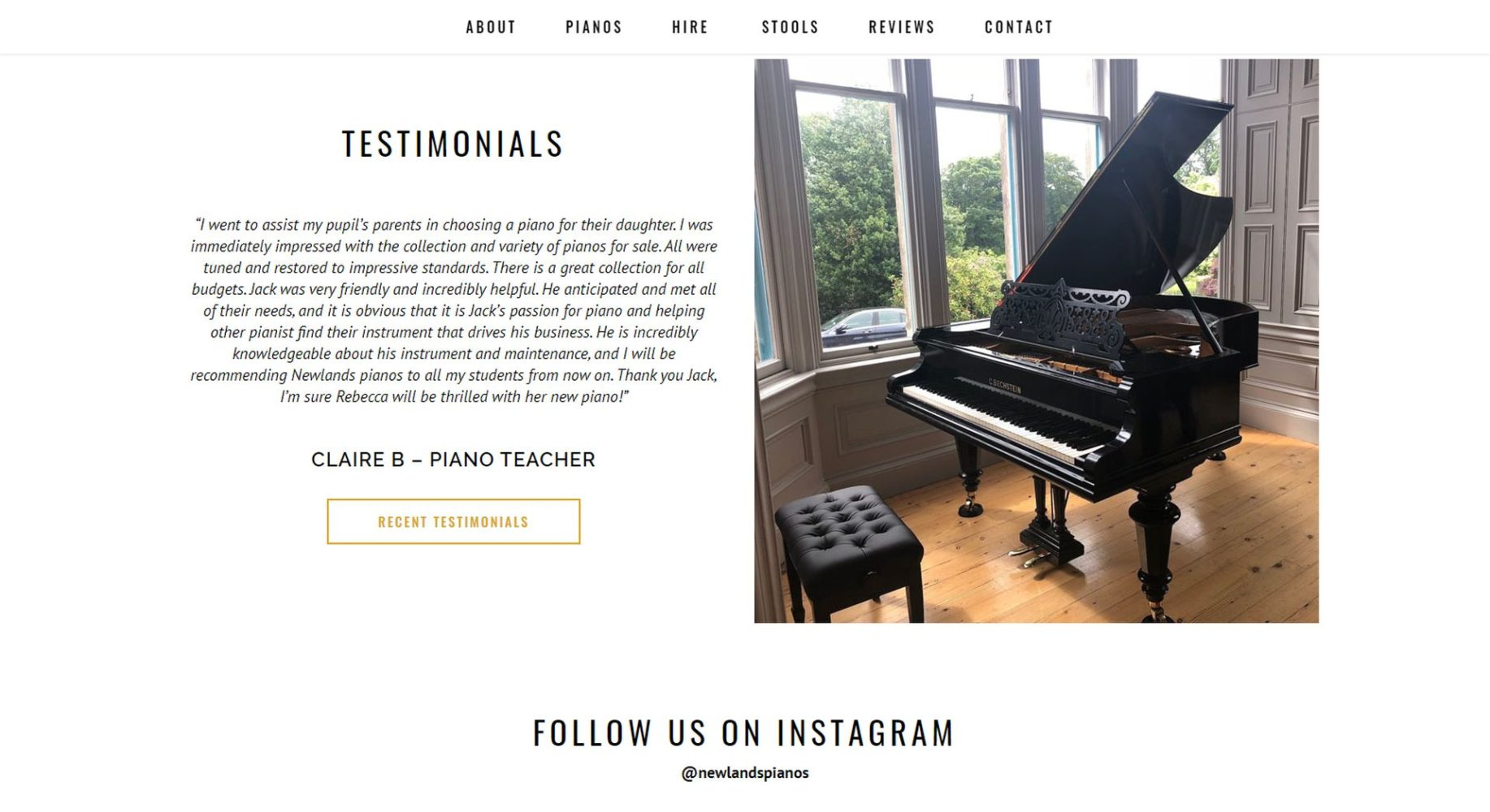 Newlands Pianos Website Design About