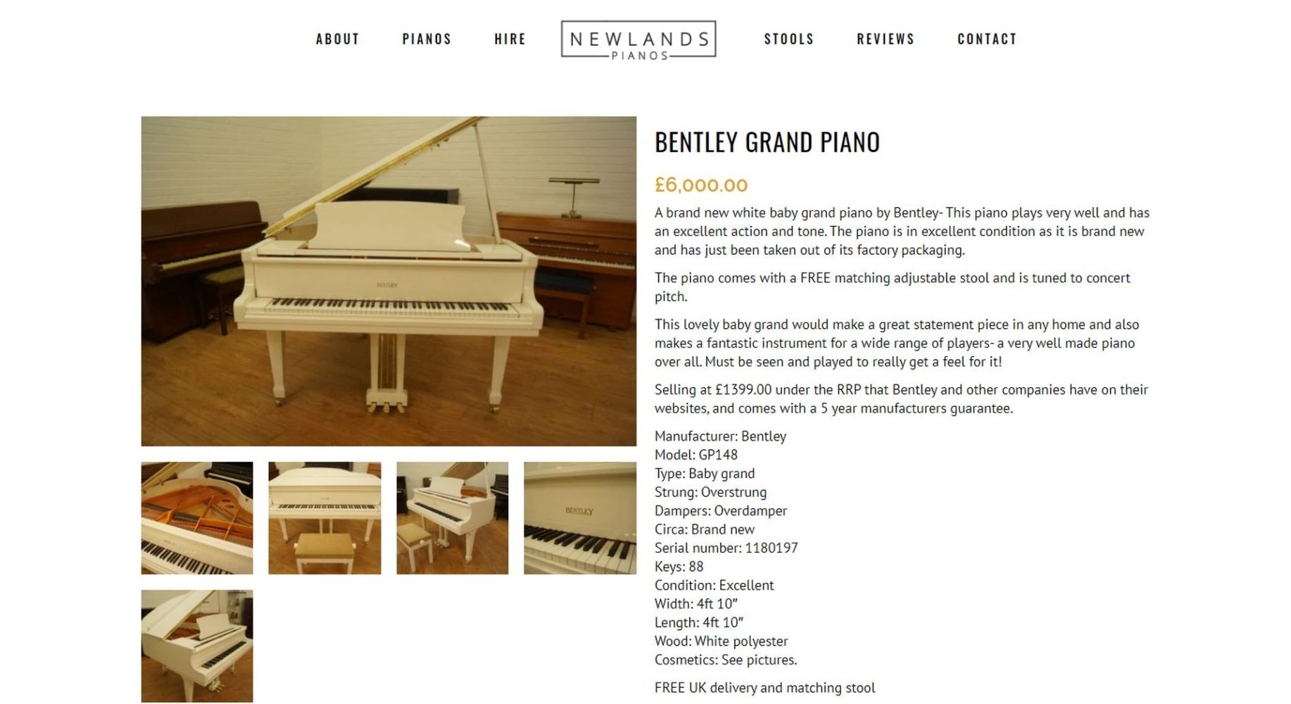 Newlands Pianos Website Design Product
