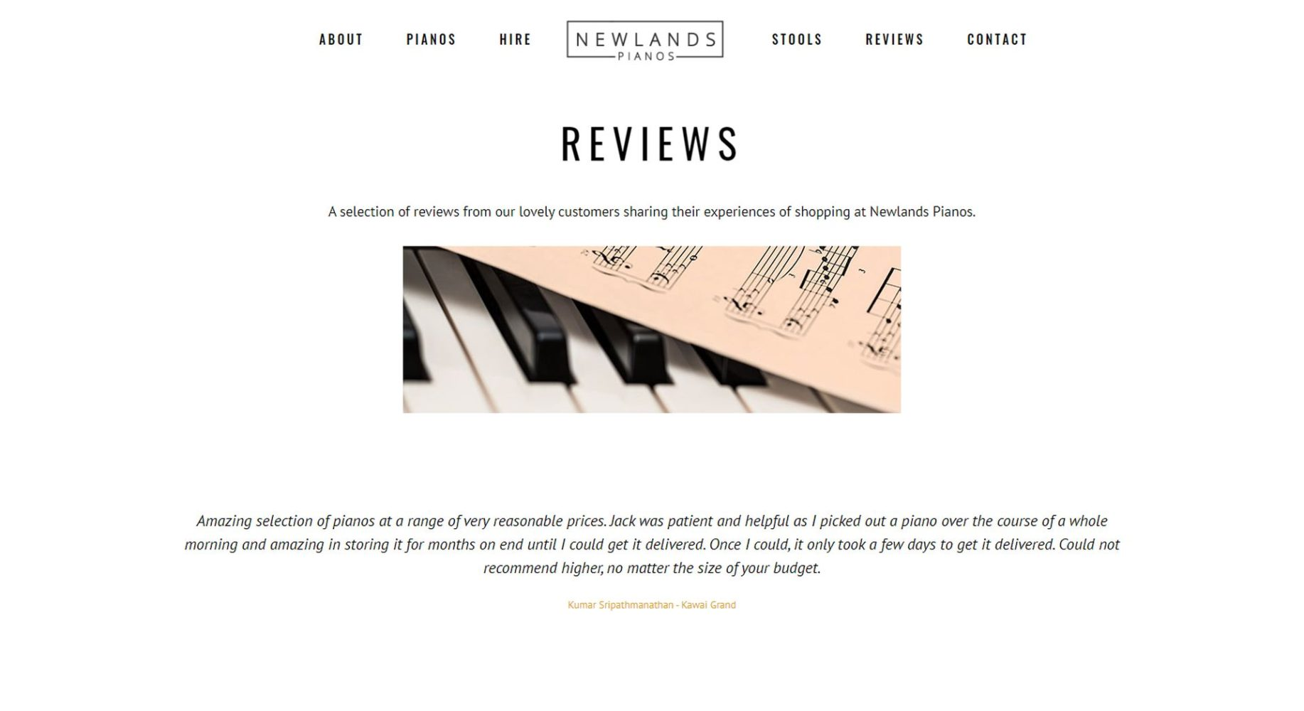 Newlands Pianos Website Design Reviews