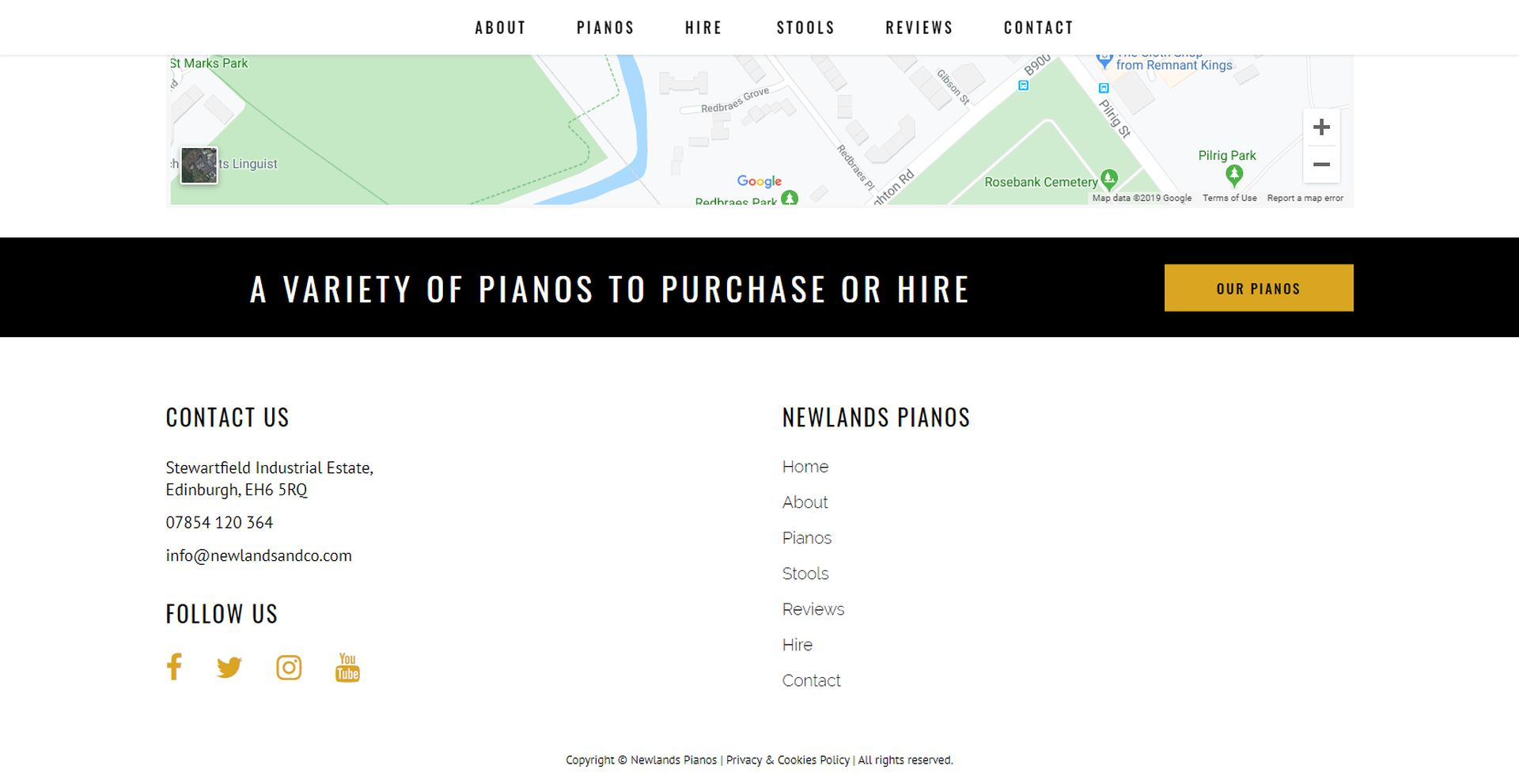 Newlands Pianos Website Design Footer