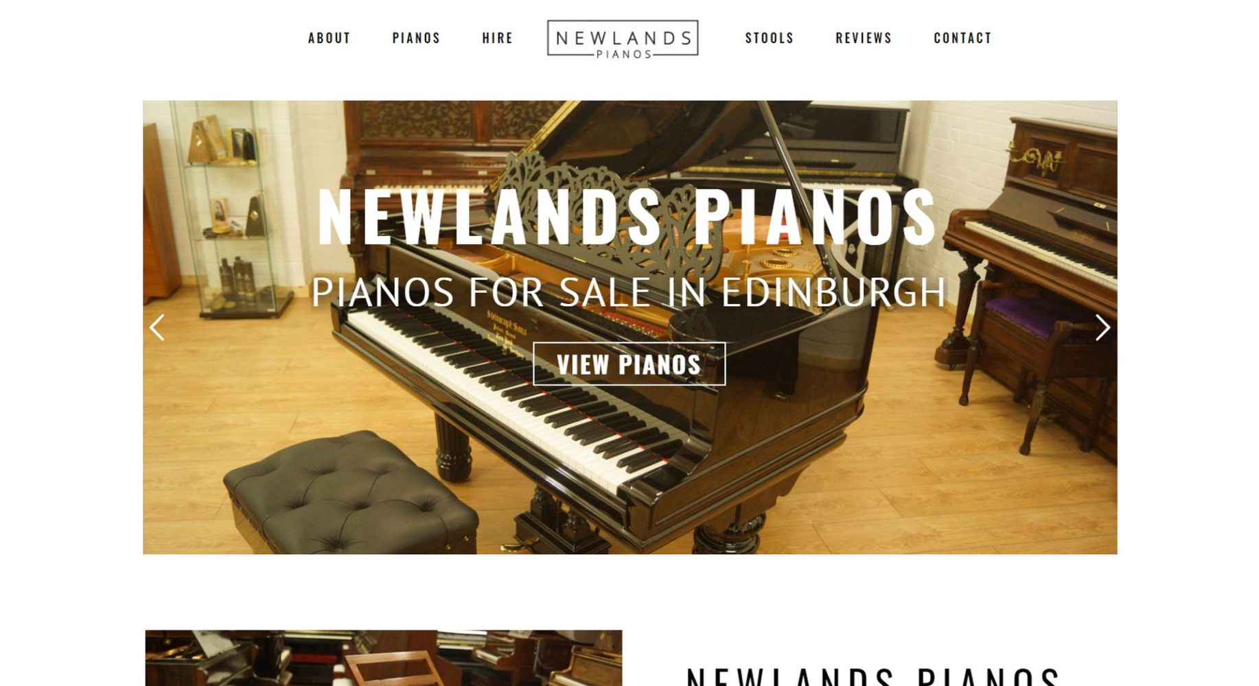Newlands Pianos Website Design Homepage