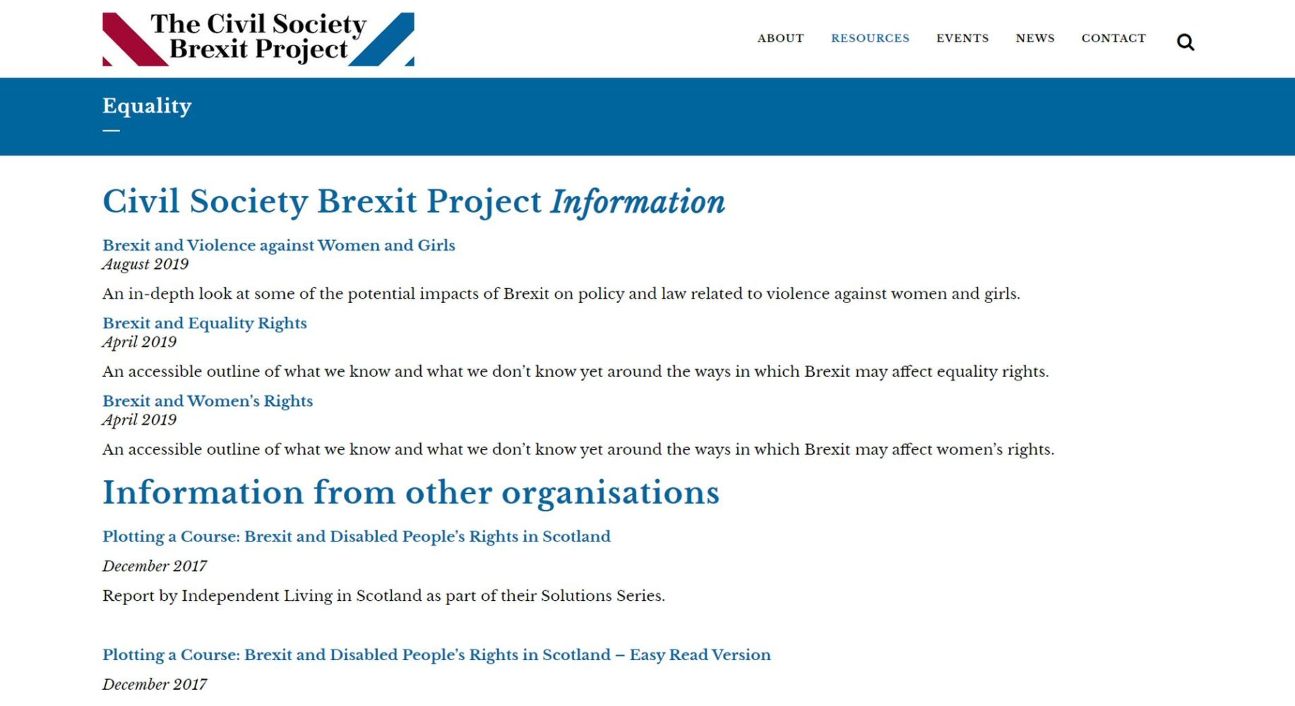 Civil Society Brexit Resources
