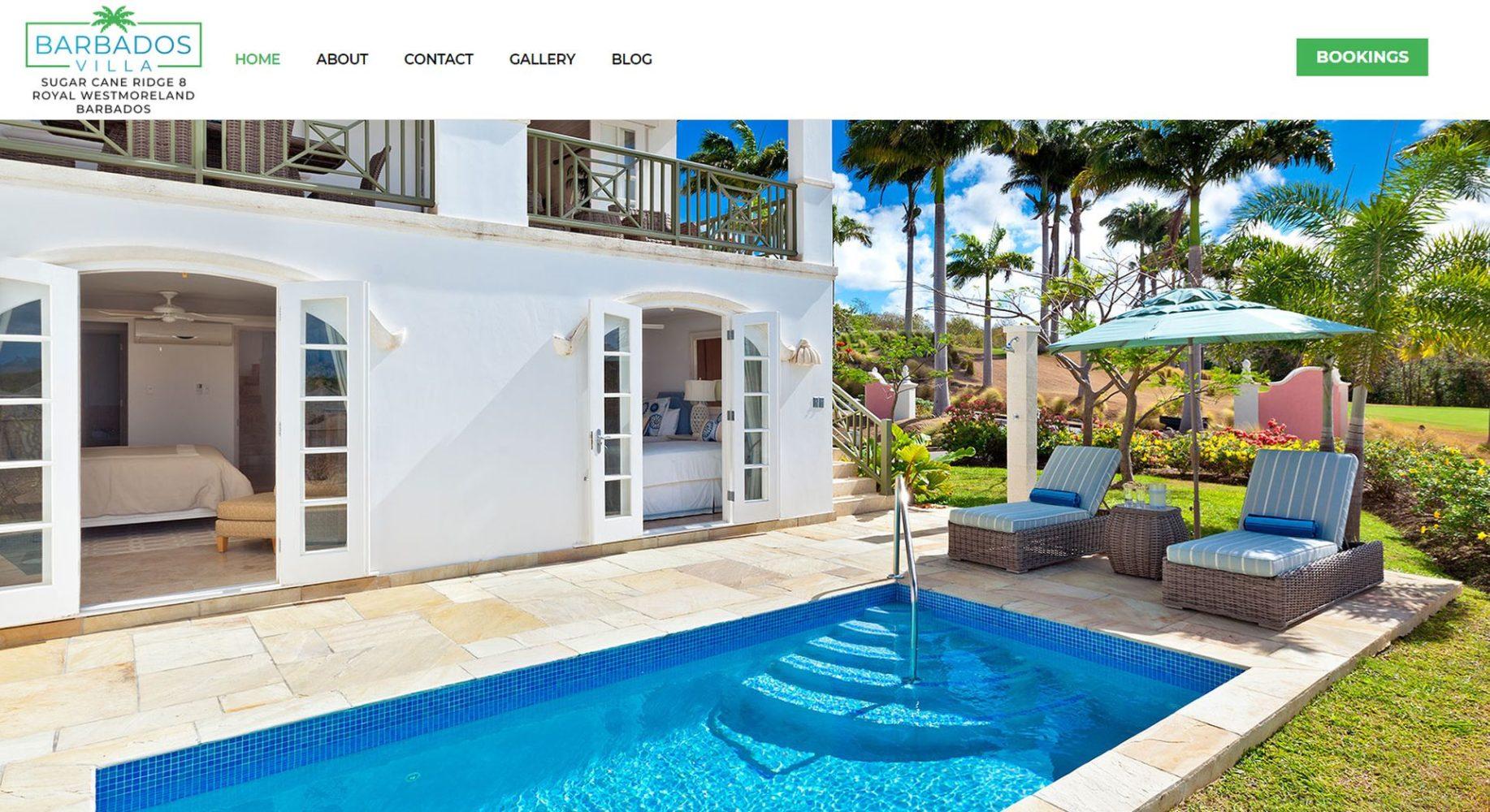 Barbados Villa Website Design Homepage