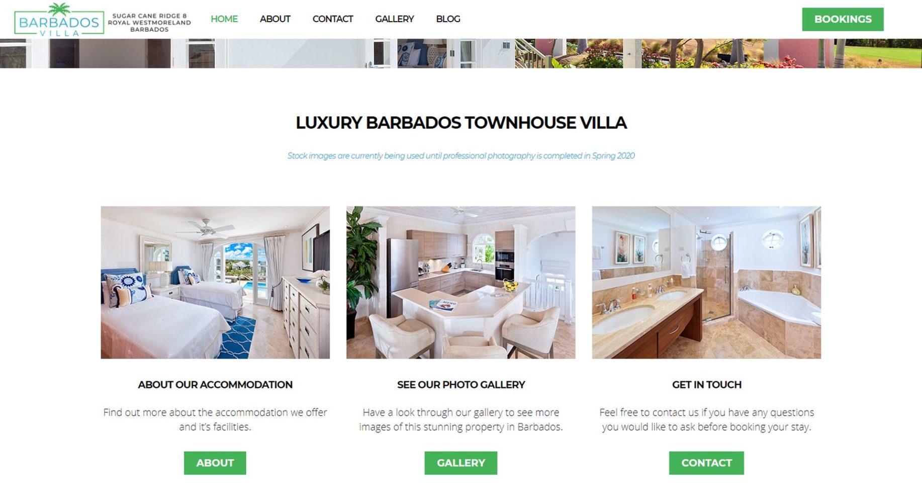 Barbados Villa Website Design Menu