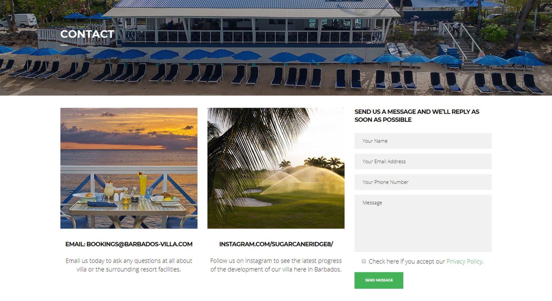 Barbados Villa Website Design Contact