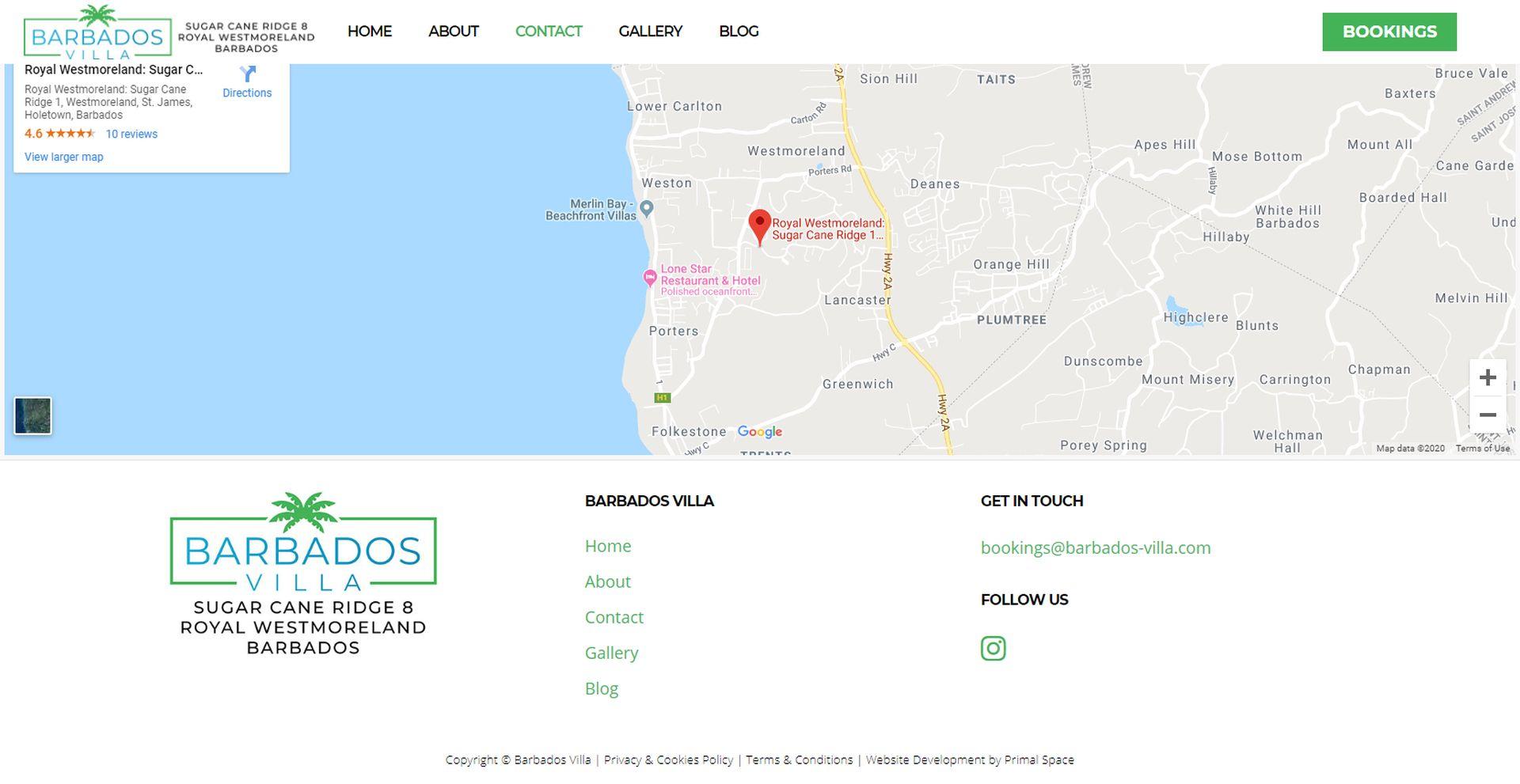 Barbados Villa Website Design Map