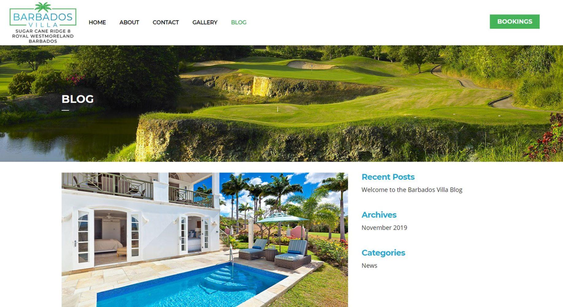Barbados Villa Website Design Blog
