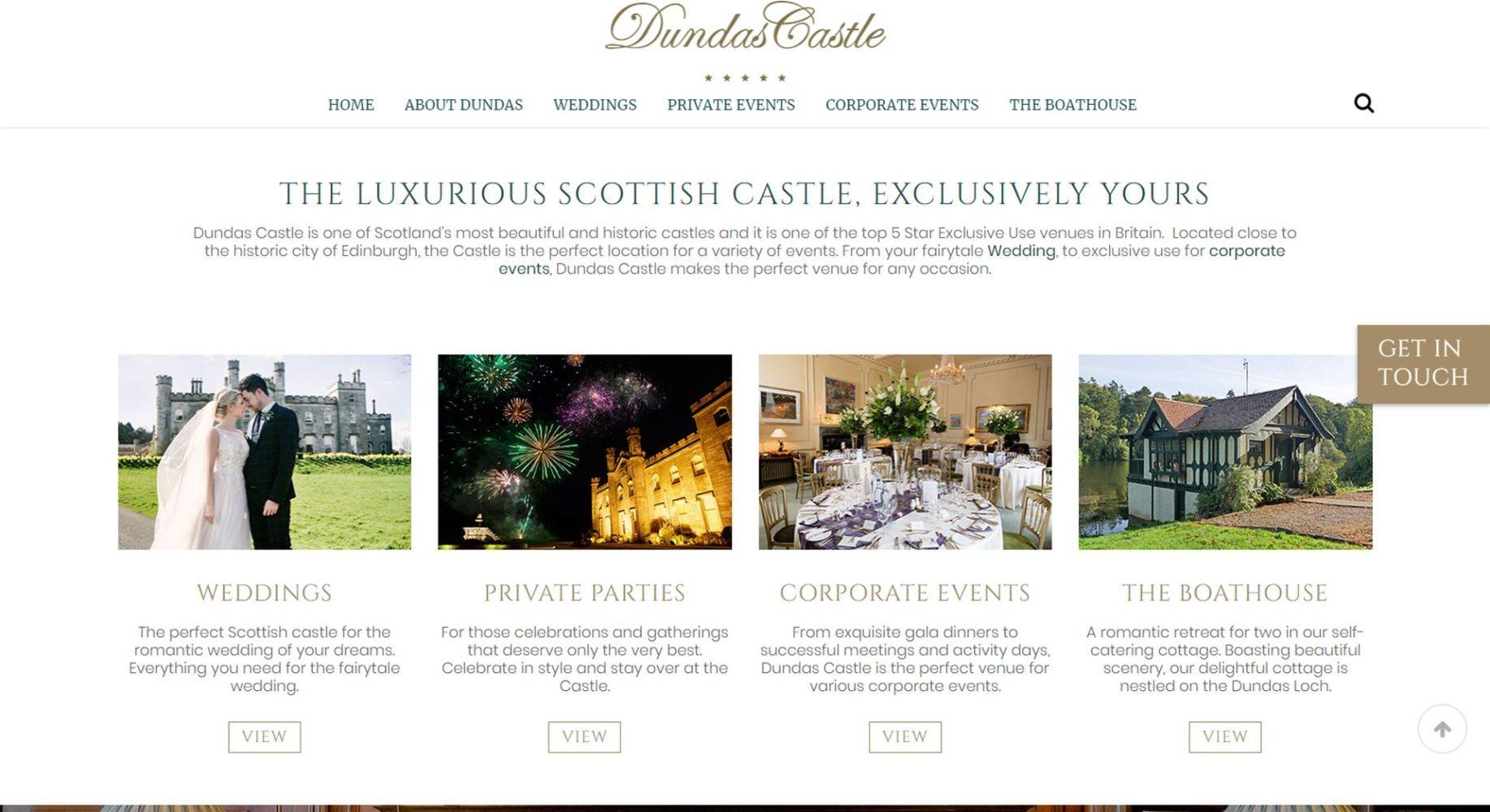 Dundas Castle Website Design Events and Hire