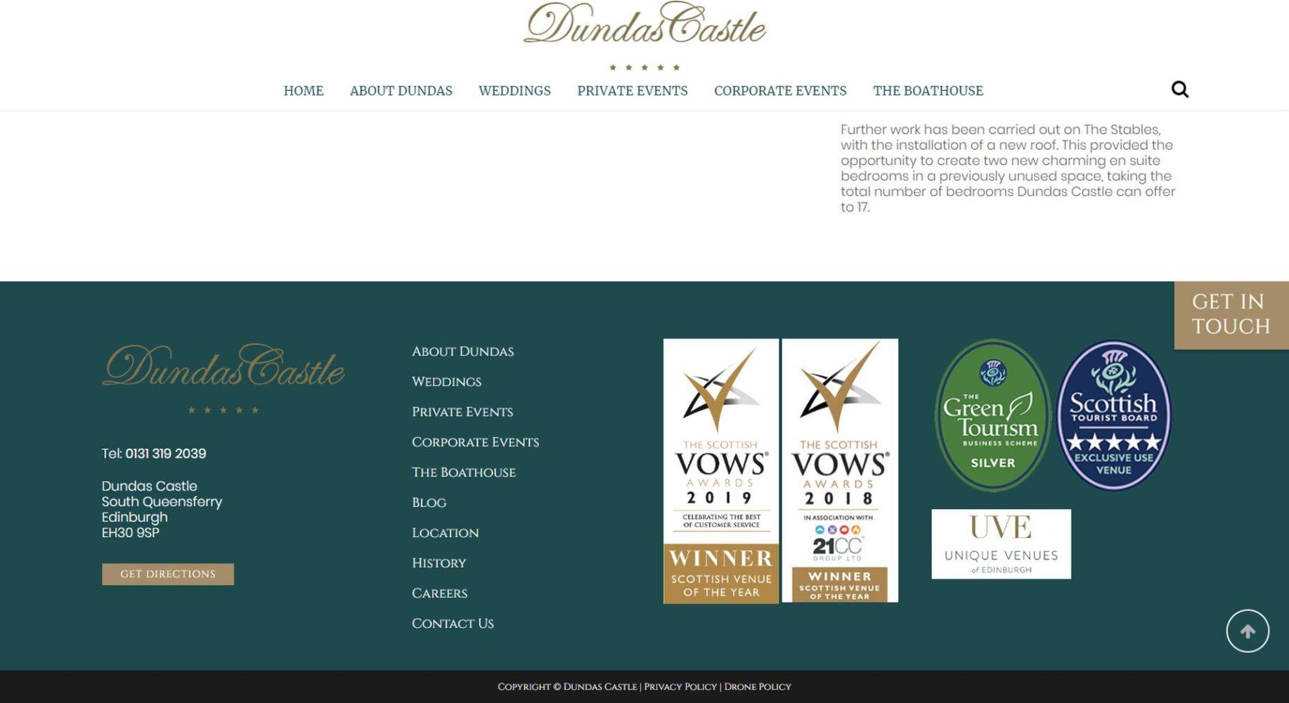 Dundas Castle Website Design Footer