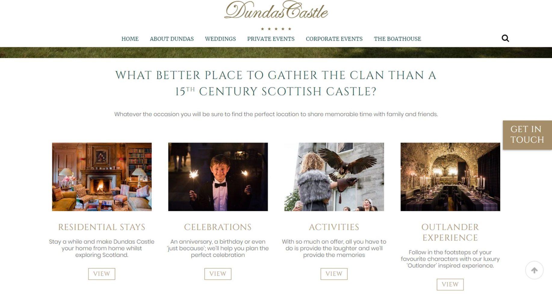 Dundas Castle Website Design Menu