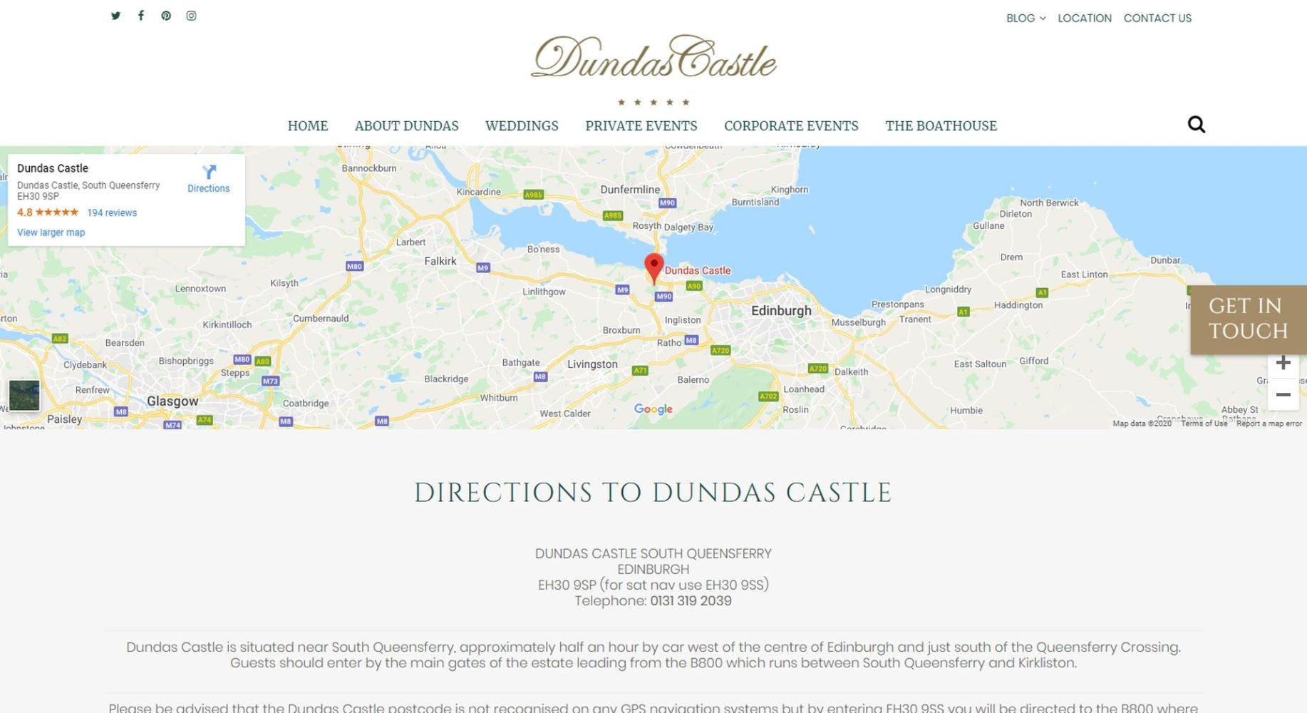 Dundas Castle Website Design Location