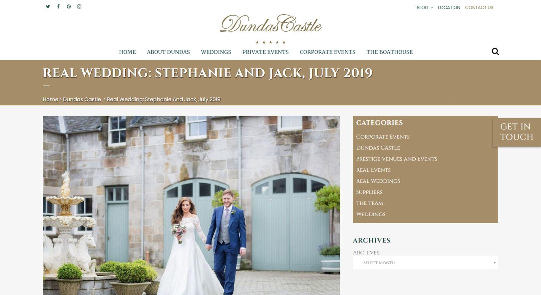 Dundas Castle Website Design Blog
