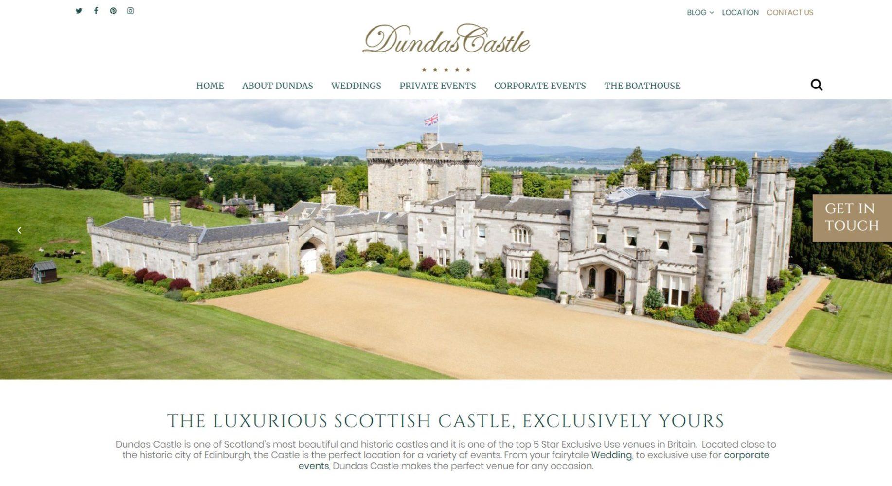 Dundas Castle Website Design Homepage