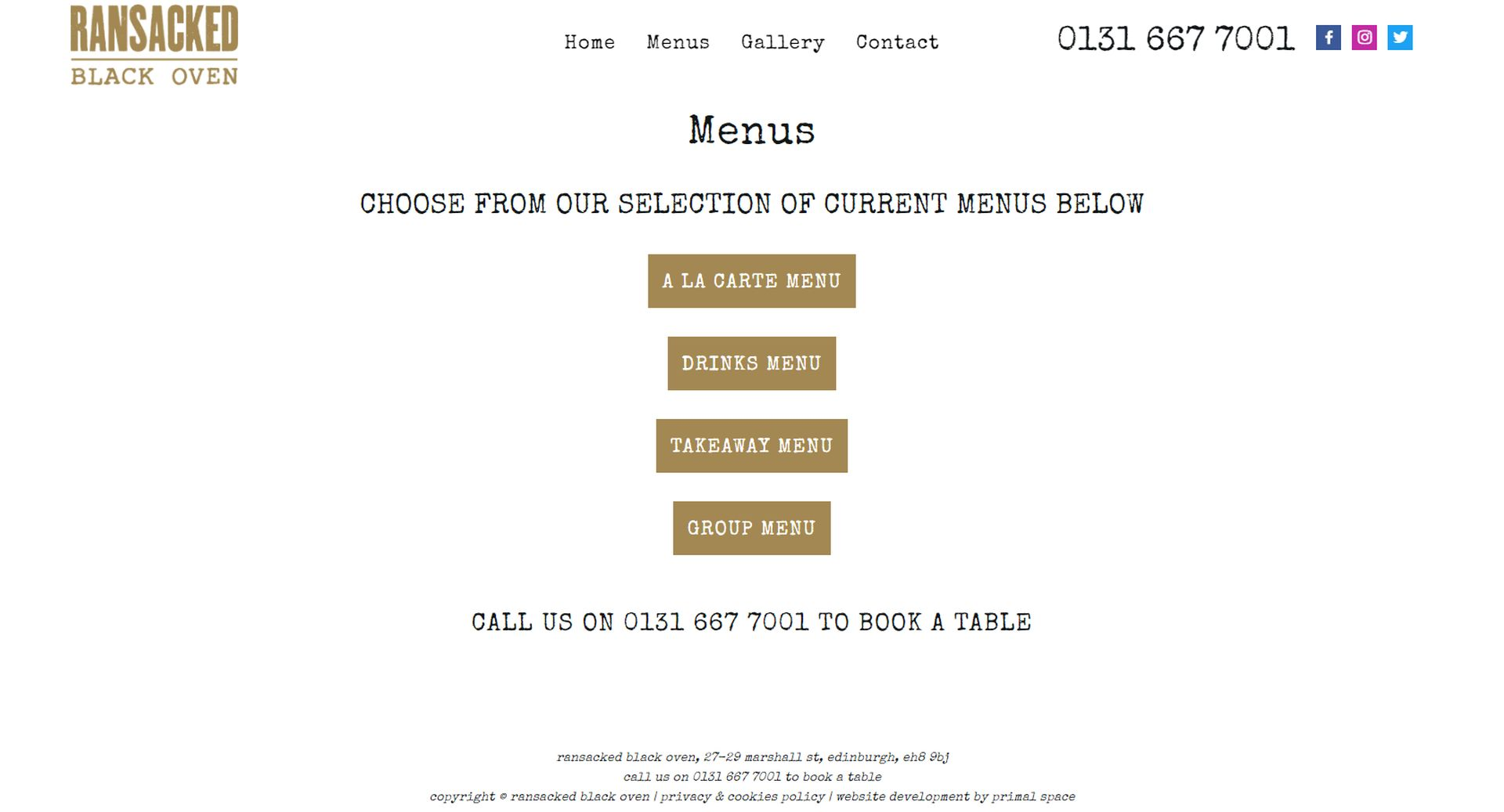 Ransacked Black Oven Website Design Menus