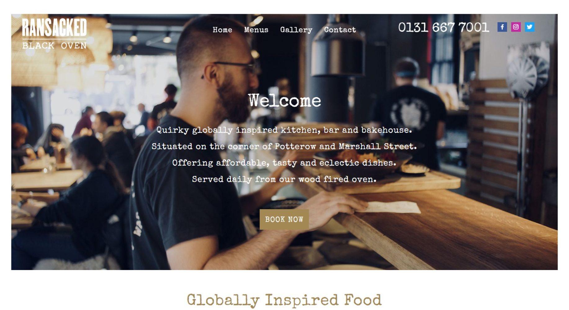 Ransacked Black Oven Website Design Header