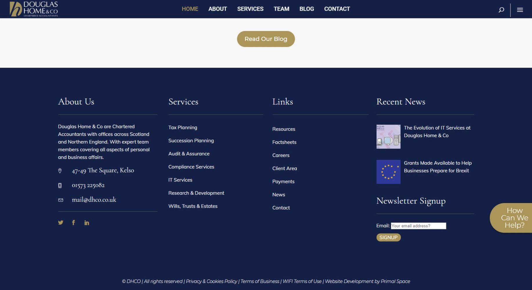 Douglas Home & Co Website Design Footer