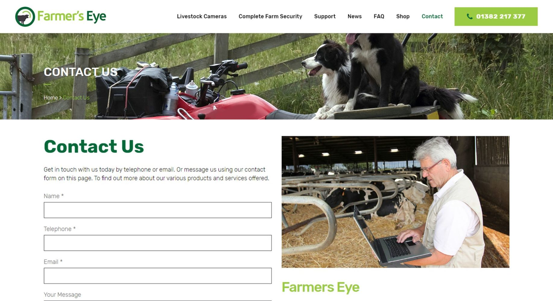 Farmers Eye Contact Page