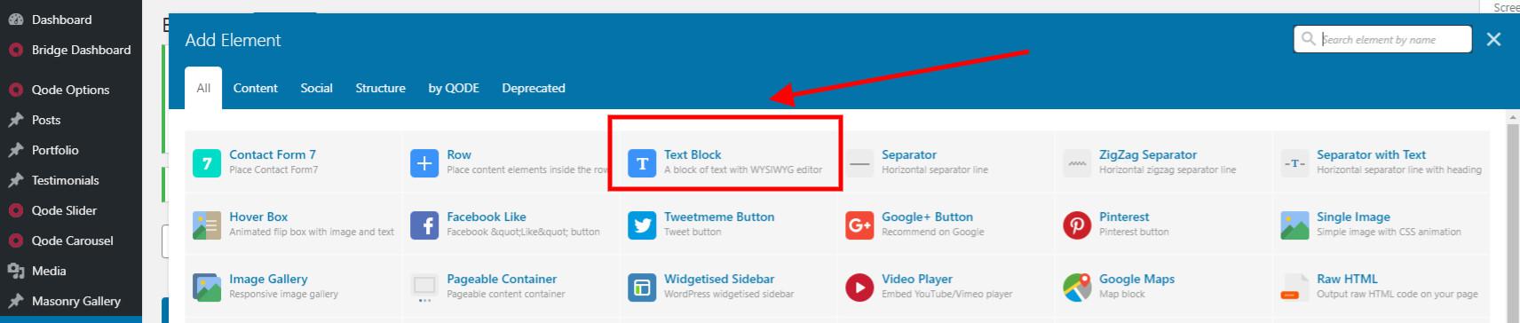 Add a text block
