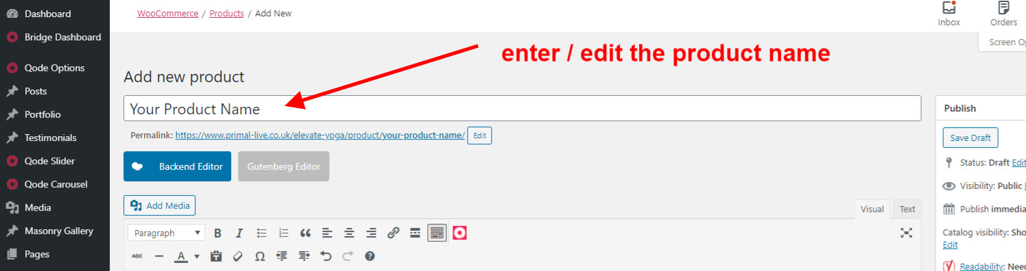 WooCommerce Guide Editing The Product Name