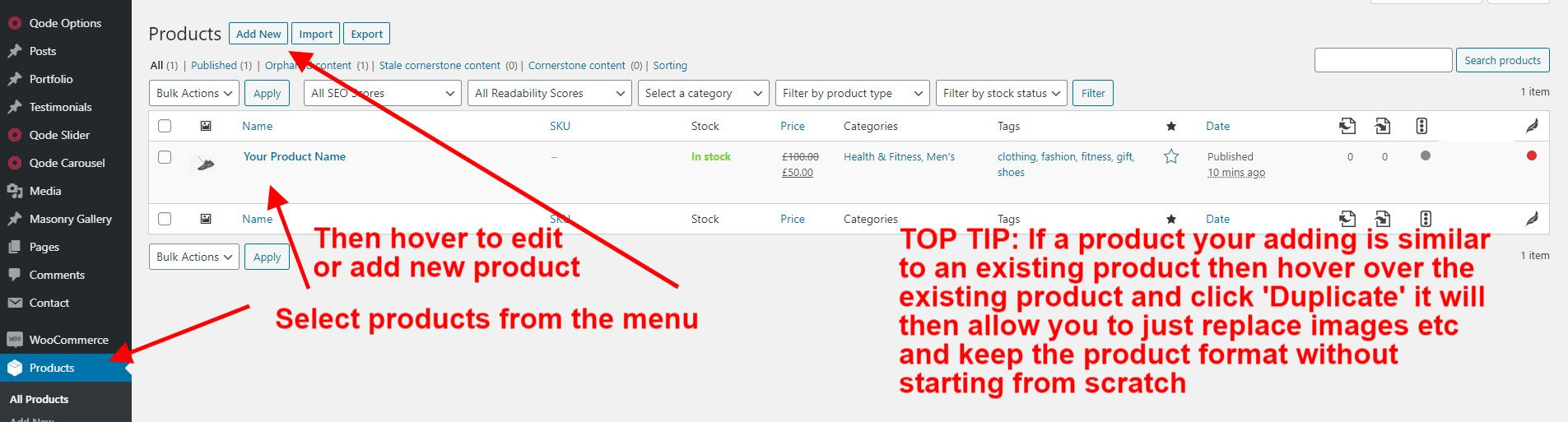 WooCommerce Guide The Product Area