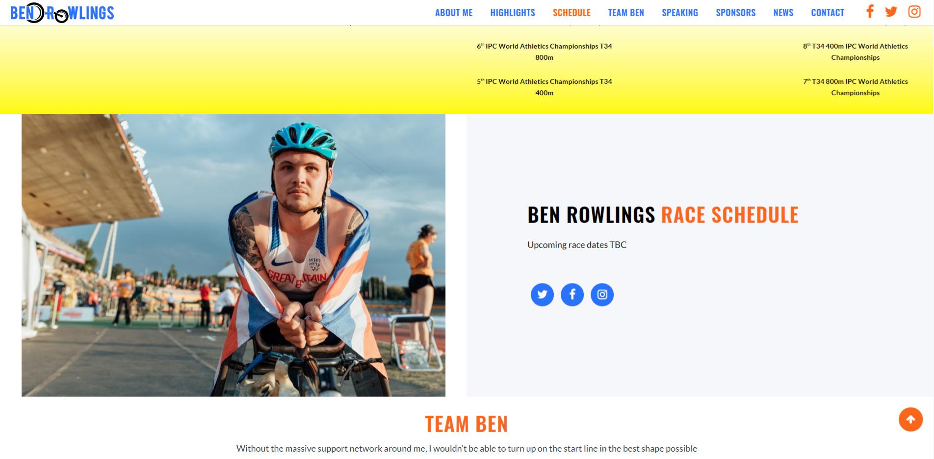 Ben Rowlings Website Design British Athlete