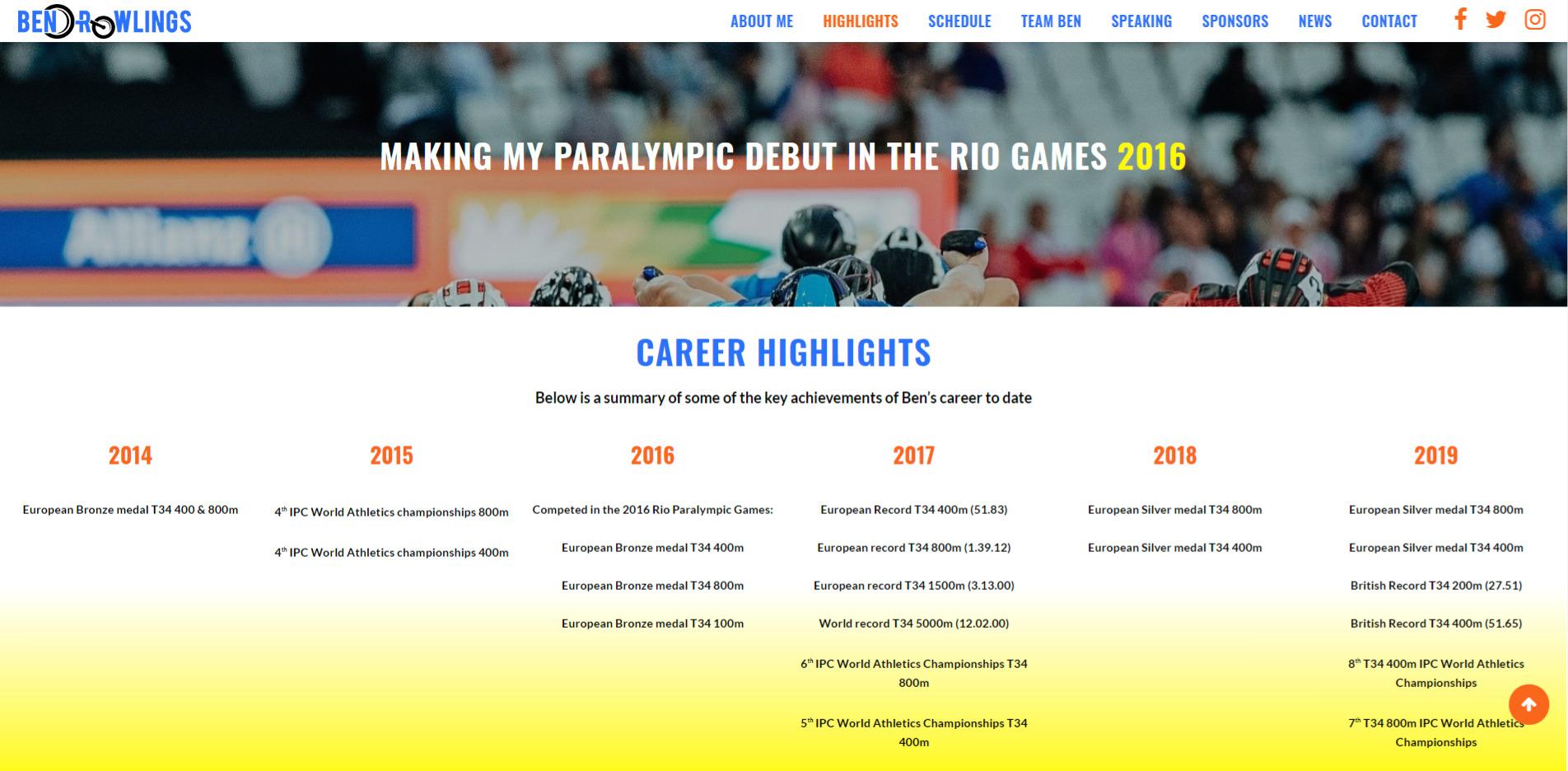 Ben Rowlings Website Design Highlights