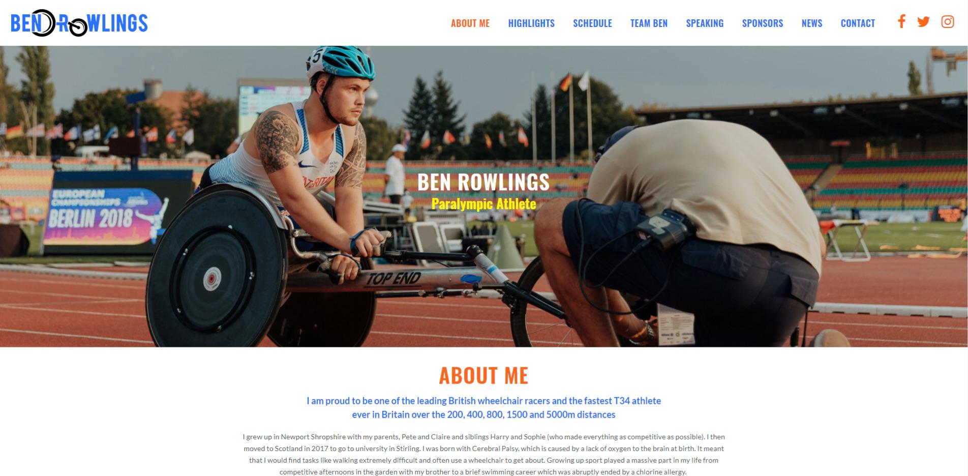 Ben Rowlings Website Design Homepage
