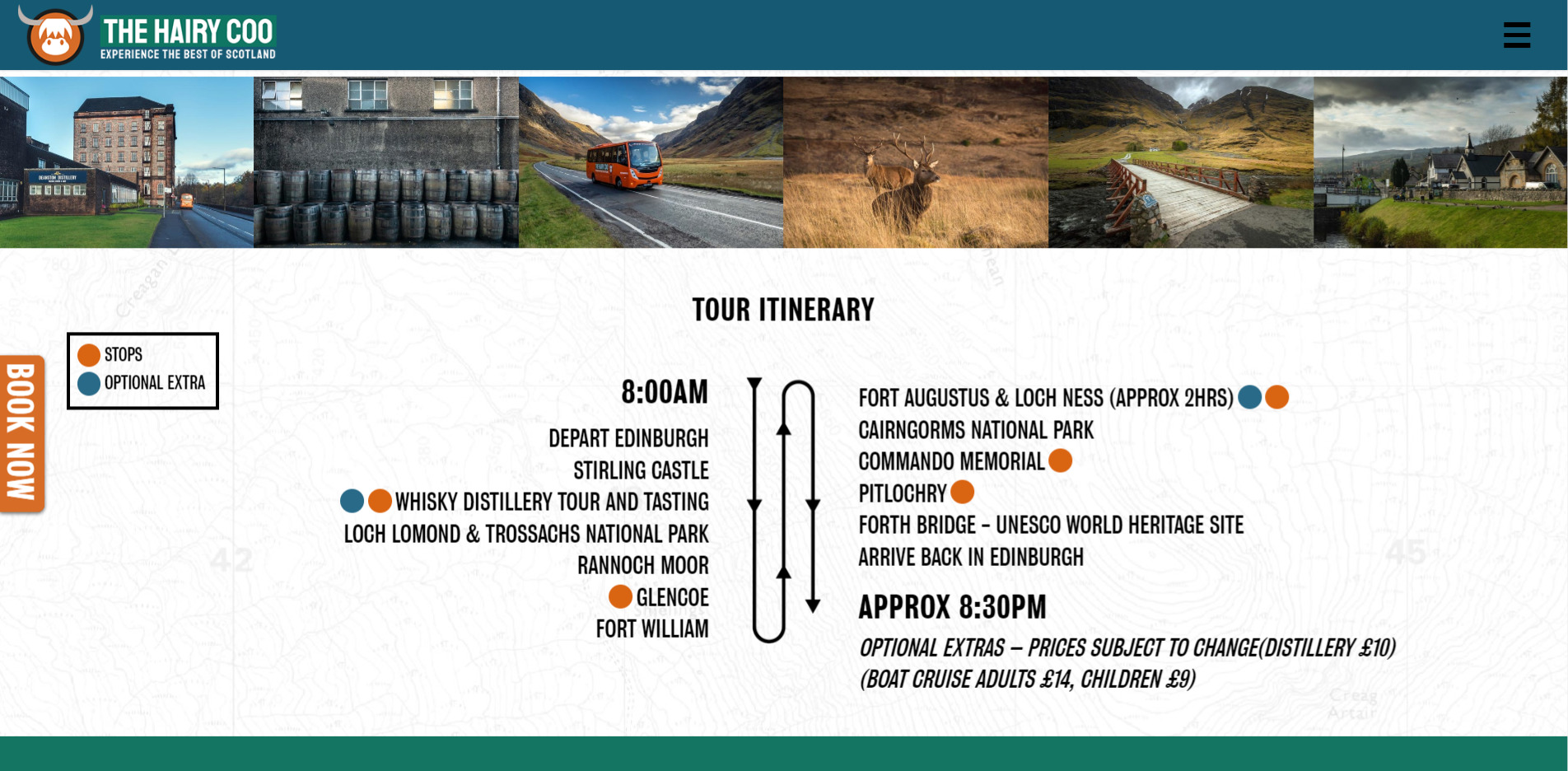 Hairy Coo Website Design 2020 Itinerary