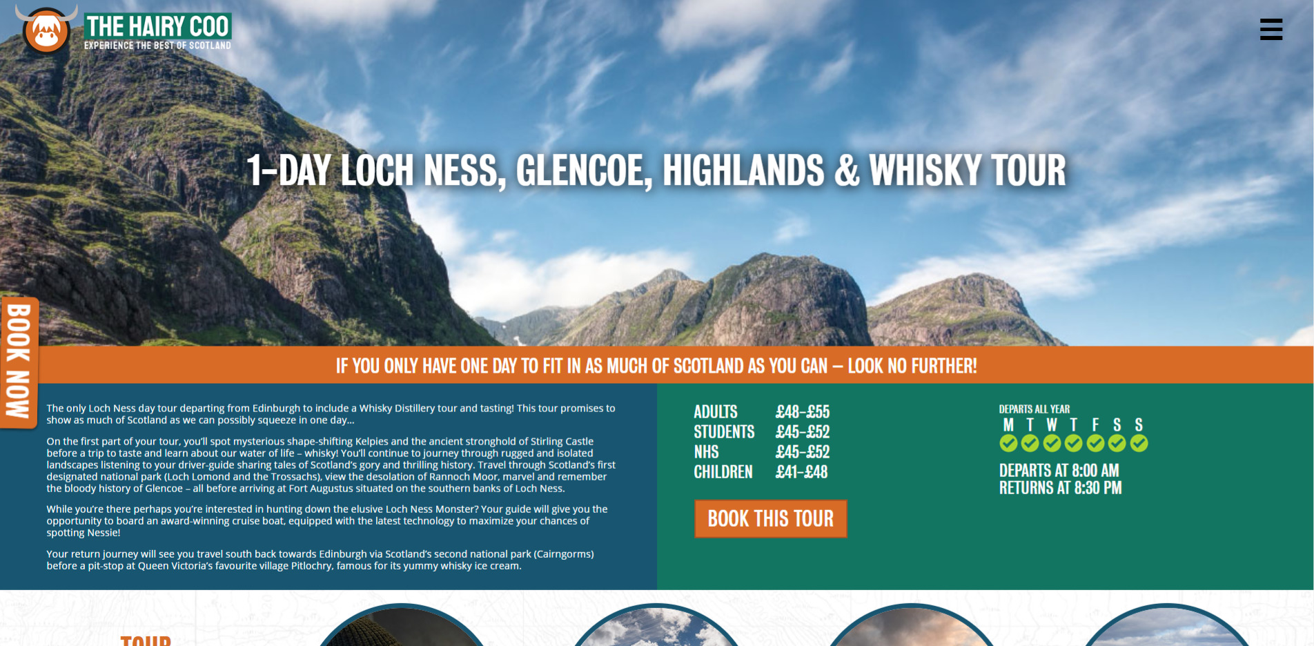 Hairy Coo Website Design 2020 Tours