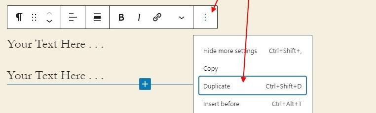 Duplicating an Area on Gutenberg