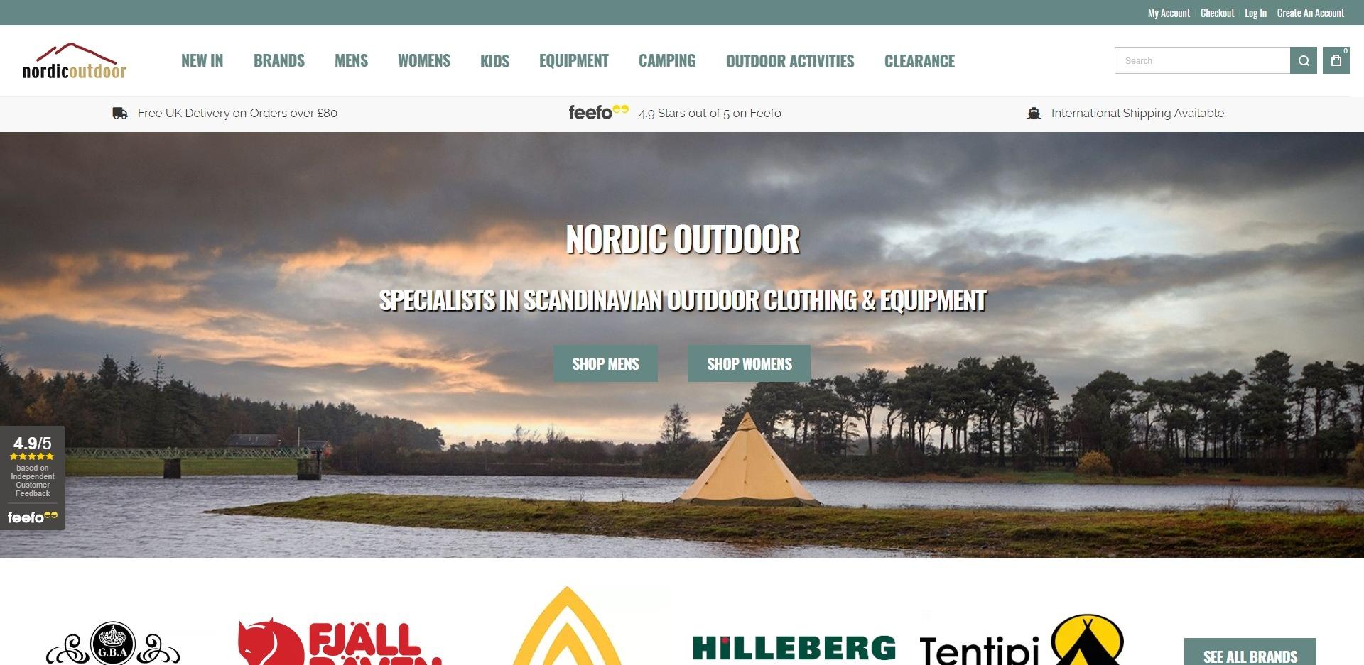 Nordic Outdoor Homepage Website Development