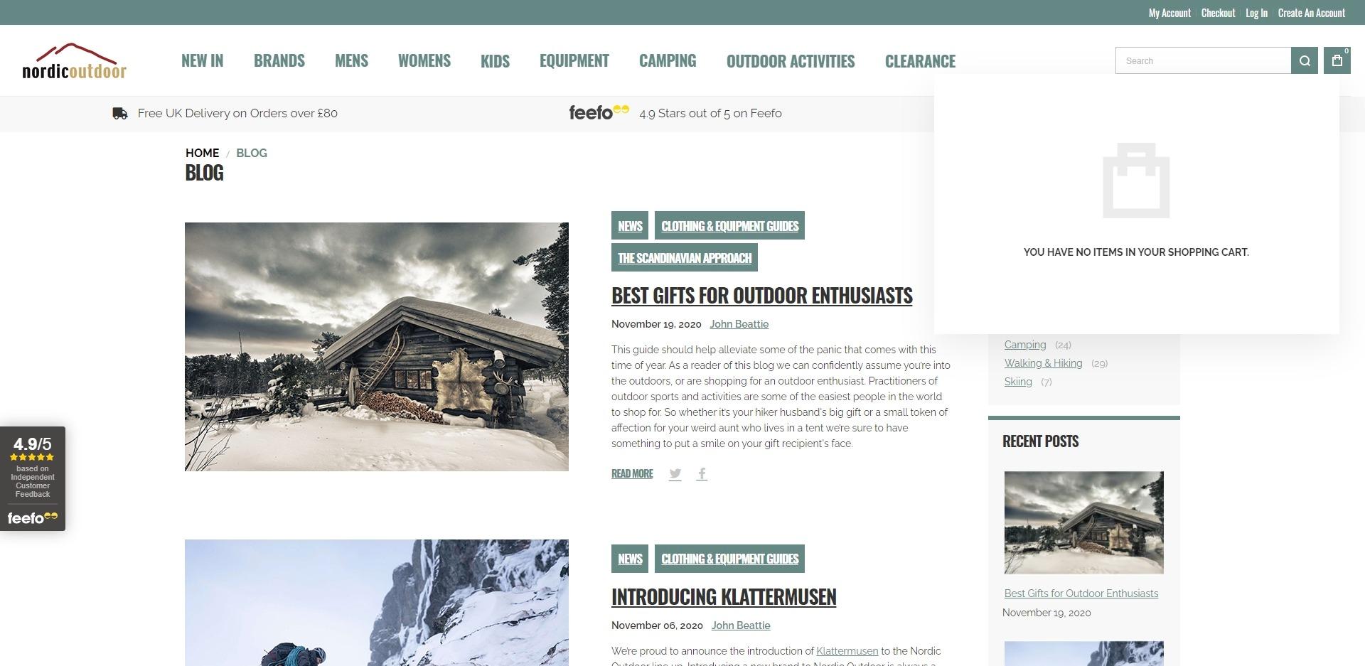 Nordic Outdoor Website Development Blog Posts