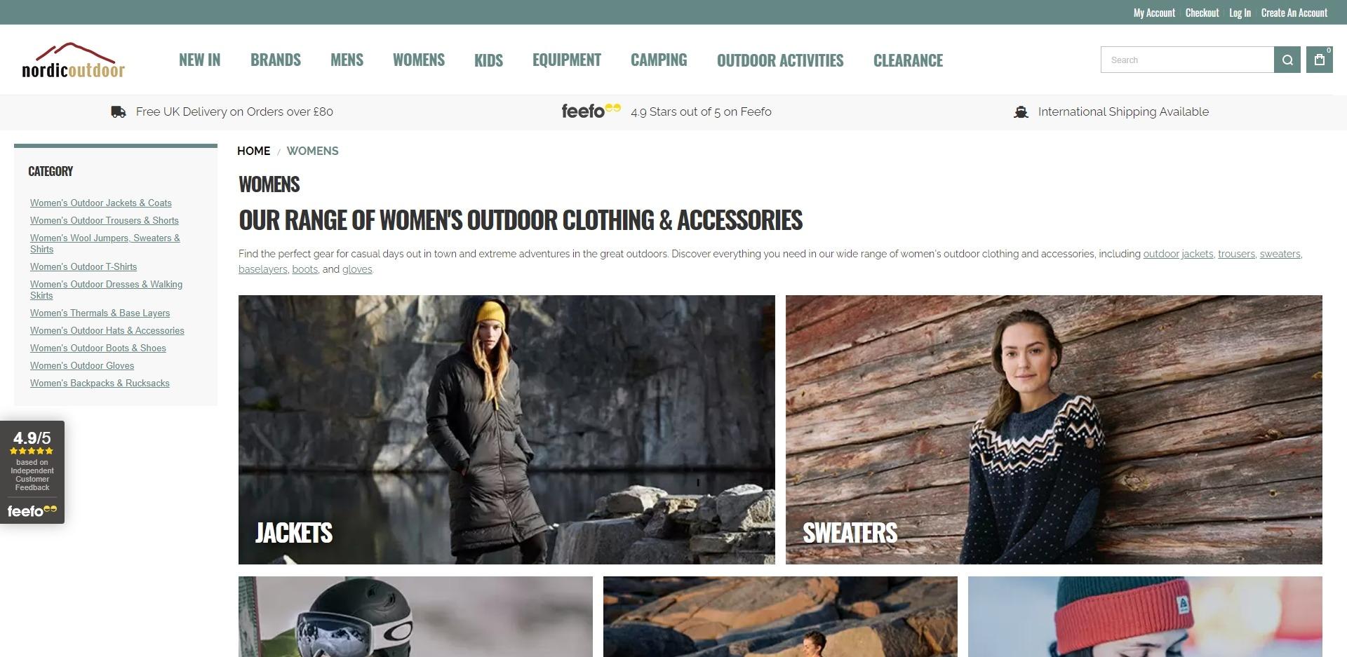 Nordic Outdoor Website Development Categories