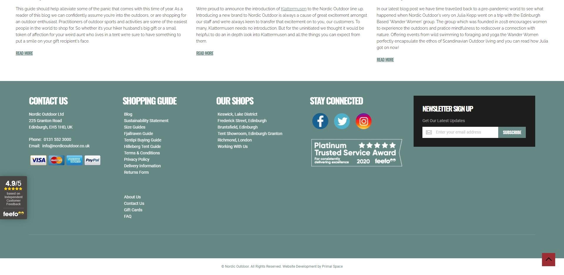 Nordic Outdoor Website Development Magento Footer